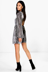 Boohoo Metallic Open Back Wide Sleeve Skater Dress Silver