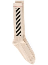 Off White Stripe Detailing Socks Nude And Neutrals