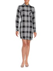 Rails Long Sleeve Plaid Shirt Dress Ebony White