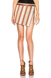 Barbara Bui Foldover Skirt In Metallics Stripes Orange