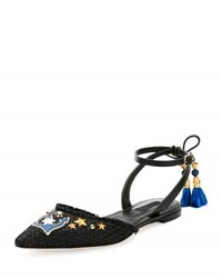 Dolce And Gabbana Anchor Embellished Raffia Ankle Wrap Flat Black