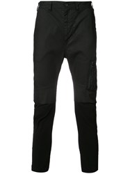 Julius Zipped Pocket Cropped Trousers Black