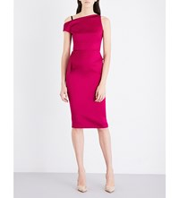 Roland Mouret Rawlings Satin Knee Length Dress Orchid