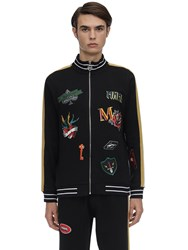 Minimal Zip Up Sweatshirt W Patches Black