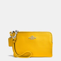 Coach Small Wristlet In Crossgrain Leather Sv Yellow