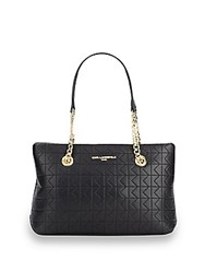 Karl Lagerfeld Quilted Lamb Leather Tote Bag Black