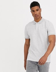 Selected Homme Waffle Knit Polo In Light Grey