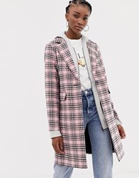 New Look Check Coat Pink Pattern