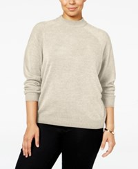 Karen Scott Plus Size Cashmelon Luxsoft Mockneck Sweater Only At Macy's Oatmeal Heather