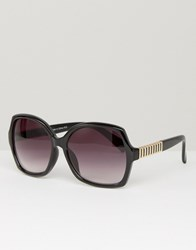 South Beach Southbeach Oversized Square Sunglasses With Metal Arm Detail Black
