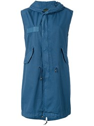 Mr And Mrs Italy Drawstring Sleeveless Hooded Jacket Women Cotton Xxs Blue