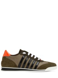 Dsquared Striped Nylon And Suede Leather Sneakers Army Orange