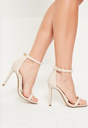 Missguided Nude Faux Leather Rounded Strap Barely There Heels