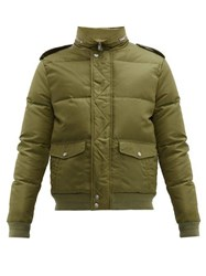 Saint Laurent Packable Hood Quilted Down Jacket Green