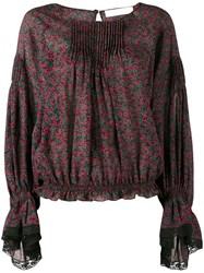 Chloe Printed Lace Trim Blouse Red