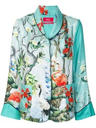 F.R.S For Restless Sleepers Pyjama Style Floral Print Blouse Green
