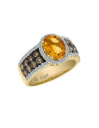 Le Vian Chocolatier Vanilla Diamond Chocolate Diamond Cinnamon Citrine And 14K Yellow Gold Ring 0.57 Tcw Orange