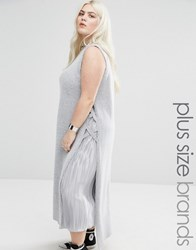 Alice And You Side Laced Sleeveless Knit Tunic Light Grey