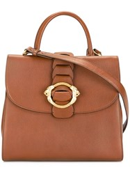 Roberto Cavalli Lion Buckle Tote Brown