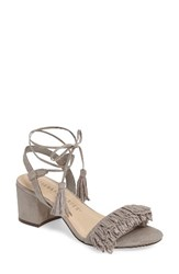 Athena Alexander Women's Fringed Ankle Wrap Sandal Grey Faux Suede