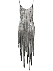 Amen Sequin Asymmetric Dress Silver
