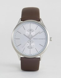 French Connection Gents Brown Leather Strap Silver Dial With Subdials Watch Brown Black