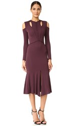 Yigal Azrouel Cold Shoulder Matte Jersey Dress Bordeaux Multi