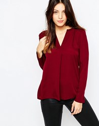 French Connection Polly Plains Shirt In Berry Biker Berry Red