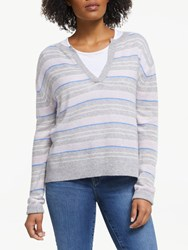 360 Sweater Rosa Stripe Cashmere Jumper Heather Grey