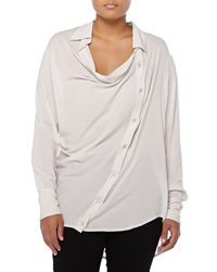 Donna Karan Asymmetric Cowl Neck Button Blouse Ash