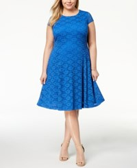 Alfani Plus Size Lace Fit And Flare Dress Created For Macy's Stormy Sea
