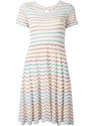 Marc Jacobs Zigzag Flared Dress Pink Purple