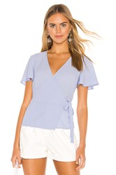 1.State Short Sleeve Wrap Front Flounce Sleeve Blouse Baby Blue