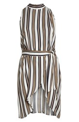 Leith Plus Size Sleeveless Belted Tunic Ivory Graphic Stripe
