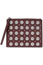 Versus By Versace Woman Studded Leather Pouch Burgundy
