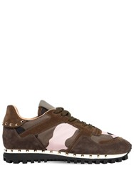511d884709369 Valentino Garavani Studded Sole Camouflage And Suede Sneakers Green Pink