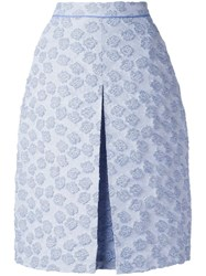 Odeeh Inverted Pleat Textured Skirt Blue