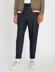 Bally Checked Regular Fit Tapered Wool Trousers Grey