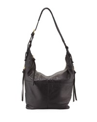 Kooba Joan Leather Crossbody Hobo Bag Black