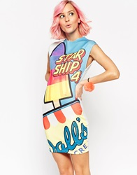 Asos Walls Mini Dress In Scuba With Glitter Starship Print