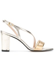 Marc Ellis Thin Cross Strap Sandals Metallic