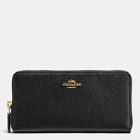 Coach Accordion Zip Wallet In Crossgrain Leather Li Black
