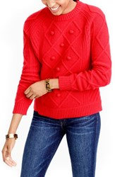 J.Crew Women's Hawthorne Cable Pom Pom Sweater