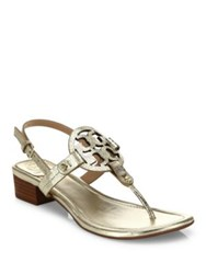 Tory Burch Miller Metallic Leather Slingback Sandals Sparkle Gold