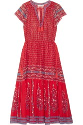 Ulla Johnson Neela Tassel Trimmed Printed Silk Georgette Dress Red