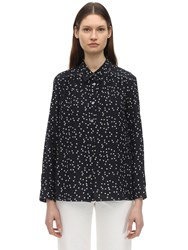 A.P.C. Sutton Printed Silk Crepe De Chine Shirt Navy
