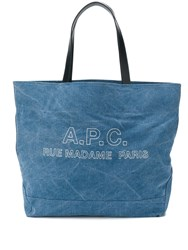 A.P.C. Logo Top Handle Tote Blue