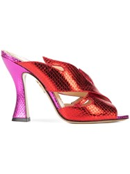 Charlotte Olympia Metallic Flame Mules Red