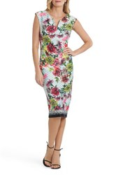 Eci Women's Print Body Con Dress White Pink