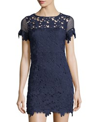 Romeo And Juliet Couture Floral Lace Short Sleeve Dress Navy